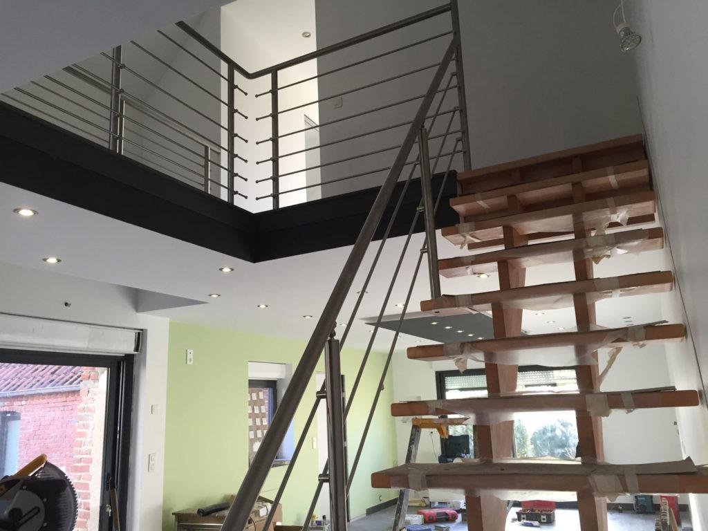 escalier et main courante en acier